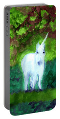 Portable Battery Charger featuring the painting Unicorn's Forest by Dobrotsvet Art
