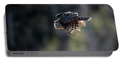 Ural Owl Flying Against The Light To Catch A Prey  Portable Battery Charger