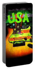 Usa Strat Guitar Music Green Theme Portable Battery Charger