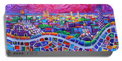 Vibrant Barcelona Night View From Park Guell Modern Impressionism Knife Painting Ana Maria Edulescu Portable Battery Charger