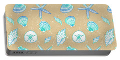 Vibrant Seashell Pattern Tan Sand Background Portable Battery Charger