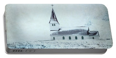 Vik I Myrdal Church In Snow Portable Battery Charger