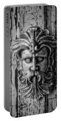 Viking Mask On Old Door In Black And White Portable Battery Charger