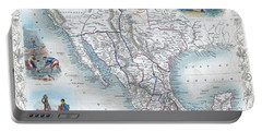 Vingage Map Of Texas, California And Mexico Portable Battery Charger