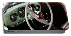 Portable Battery Charger featuring the photograph Vintage Kaiser Darrin Automobile Interior by Debi Dalio