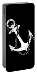 Portable Battery Charger featuring the digital art Vintage Nautical Anchor by Flippin Sweet Gear