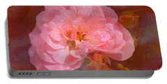 Vintage Pink And Textured Rose Portable Battery Charger