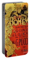 Vintage Poster By Adolfo Hohenstein For Opera La Boheme By Giacomo Puccini Portable Battery Charger