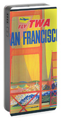 Vintage San Francisco Twa Airlines Travel Poster Portable Battery Charger