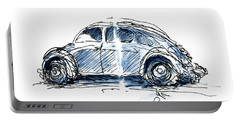 Vw Beetle Classic Car Ink Drawing And Watercolor Portable Battery Charger