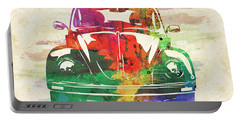 Vw Old Beetle Colorful Watercolor Portable Battery Charger