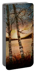 Portable Battery Charger featuring the painting Warm Fall Day by Sher Nasser