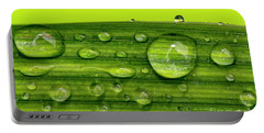 Water Drops On Leaf Portable Battery Charger