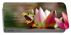 Water Lily And Frog Portable Battery Charger
