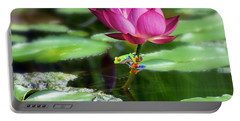 Water Lily And Little Frog Portable Battery Charger