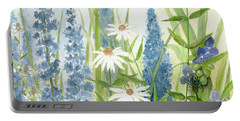 Watercolor Blue Flowers Portable Battery Charger