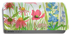 Watercolor Touch Of Blue Flowers Portable Battery Charger