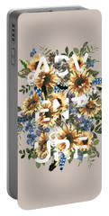 Portable Battery Charger featuring the painting Watercolour Sunflowers Adventure Typography by Georgeta Blanaru