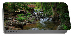 Waterfall With Wooden Bridge Portable Battery Charger