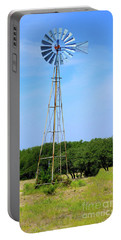 Portable Battery Charger featuring the photograph West Texas Windmill A9718 by Mas Art Studio