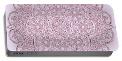 Portable Battery Charger featuring the digital art Whimsical Burgundy Mandala by Georgeta Blanaru