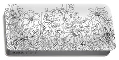 Whimsical Flower Garden, Line Art Doodles Portable Battery Charger