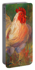 White And Red Chicken Against Green Portable Battery Charger