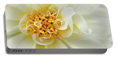 Portable Battery Charger featuring the photograph White Dahlia Curls by Mary Jo Allen
