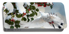 White Dove And Holly Portable Battery Charger