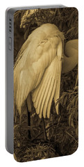 White Egret In Tree Portable Battery Charger