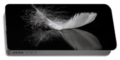 White Feather Reflection Portable Battery Charger