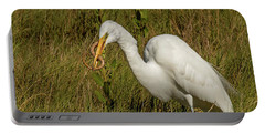 White Heron With Snake Portable Battery Charger