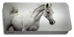 Portable Battery Charger featuring the photograph White Horse On The White Background Equestrian Beauty by Dimitar Hristov