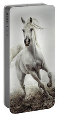 Portable Battery Charger featuring the photograph White Horse Running In Winter Mist by Dimitar Hristov