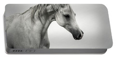 Portable Battery Charger featuring the photograph White Horse Winter Mist Portrait by Dimitar Hristov