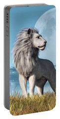 Portable Battery Charger featuring the digital art White Lion And Full Moon by Daniel Eskridge