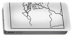 White Map Of Cape Town Portable Battery Charger