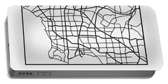 White Map Of Los Angeles Portable Battery Charger
