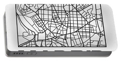 White Map Of Madrid Portable Battery Charger