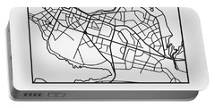White Map Of Reykjavik Portable Battery Charger