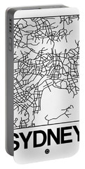 White Map Of Sydney Portable Battery Charger