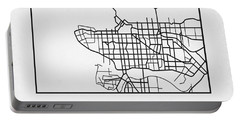 White Map Of Vancouver Portable Battery Charger