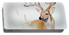 Portable Battery Charger featuring the painting White Tail Buck by Philip and Karen Rispin