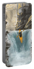 Portable Battery Charger featuring the painting White Water Kayaking by Sassan Filsoof