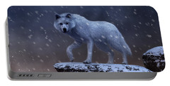 Portable Battery Charger featuring the digital art White Wolf In A Blizzard by Daniel Eskridge