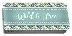 Wild And Free - Boho Chic Ethnic Nursery Art Poster Print Portable Battery Charger