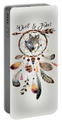 Portable Battery Charger featuring the mixed media Wild And Free Wolf Spirit Dreamcatcher by Georgeta Blanaru