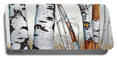Wild Birch Trees In The Forest In Watercolor Portable Battery Charger