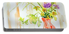 Wild Flowers In An Orange Vase Portable Battery Charger