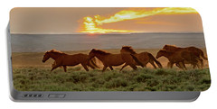 Wild Horses At Dusk Portable Battery Charger